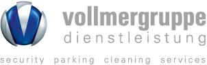 Das Logo der Vollmergruppe Dienstleistung mit den Bereichen security, parking, cleaning, services.